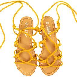 Heltid Women's Open Toe Lace Up Gladiator Flat Sandals,Slip on Roman Sandals | Amazon (US)