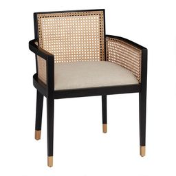 Black Wood And Cane Back Fynn Dining Armchair   World Market