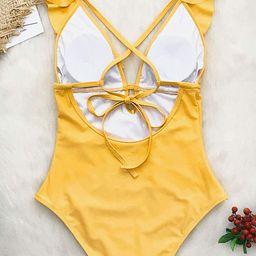 CUPSHE Women's One Piece Swimsuit Ruffle Deep V Neck Strappy Swimwear Bathing Suits | Amazon (US)