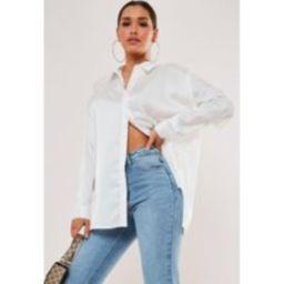White Extreme Oversized Satin Shirt   Missguided (US & CA)
