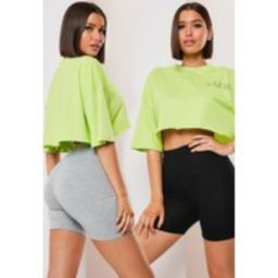 Petite Grey And Black Biker Shorts 2 Pack   Missguided (US & CA)