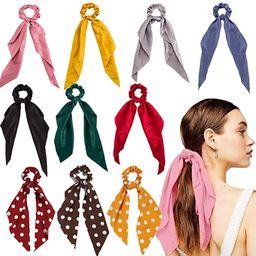 Hair Scarf Scrunchies, 10 Pcs Hair Ribbon Bow Scrunchies, Soft Scarf Hair Ties Bowknot Ponytail H... | Amazon (US)