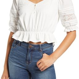 Lace Trim Crop Ruffle Top | Nordstrom