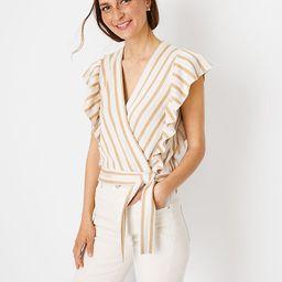Striped Jacquard Ruffle Wrap Sweater | Ann Taylor | Ann Taylor (US)