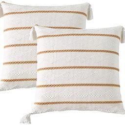 SIGOODS Set of 2 Boho Throw Pillow Covers, Modern Stripe Geometric Farmhouse Decorative Pillowcas... | Amazon (US)