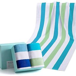 WIIKWEEK 100% Cotton Beach Towel Oversized with Colorful Stripes, Soft and Quick Dry Beach/Swim/P...   Amazon (US)
