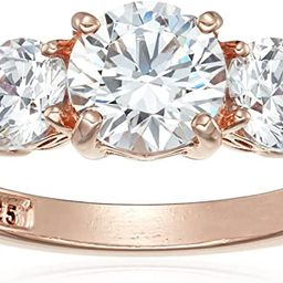 Amazon Collection Platinum or Gold Plated Sterling Silver Round 3-Stone Ring made with Swarovski ... | Amazon (US)