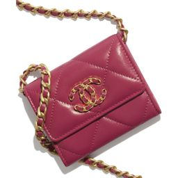 Lambskin, Gold-Tone, Silver-Tone & Ruthenium-Finish Metal Pink CHANEL 19 Flap Coin Purse with Cha... | Chanel, Inc.