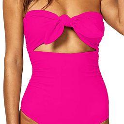QINSEN Womens Sexy Strapless Tie Knot Front High Waist One Piece Swimsuit   Amazon (US)