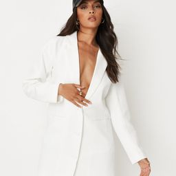White Button Front Oversized Blazer Dress   Missguided (US & CA)