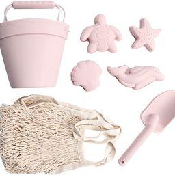 BraveJusticeKidsCo.   Silicone Summer Kids Beach Set   Toddlers and Baby Sandbox Toys (Blush) + B...   Amazon (US)