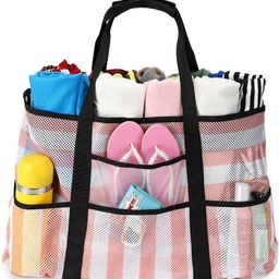 BLUBOON Mesh Beach Bag Toy Tote Bag for Family Pool Oversized 22 inches Grocery Shopping Bag with...   Amazon (US)