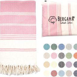 BERGAMA Turkish Beach Towel   100% Cotton, Prewashed, 38 x 71 Inches   Quick Dry, Sand Free, Ligh...   Amazon (US)