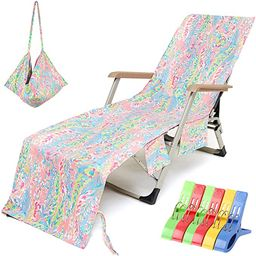 VOCOOL Beach Chair Towel Chaise Lounge Cover with Pockets and Clips Pool Chair Towel for Outdoor ...   Amazon (US)