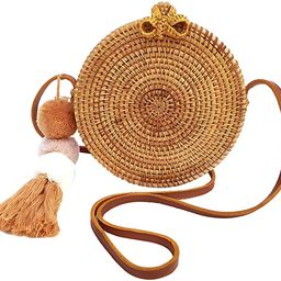 Star Rattan Straw Crossbody Bag with Genuine Leather | Boho Ata Handbag | Amazon (US)