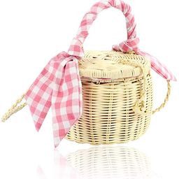 QTKJ Natural Hand-Woven Wicker Round Shoulder Bag Summer Beach Mini Straw Crossbody Bucket Tote B... | Amazon (US)