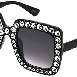 FLAWLESS Oversized Square Frame Bling Rhinestone Crystal Design Sunglasses For Women | Amazon (US)