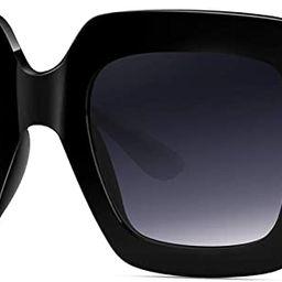 Square Frame Oversized Sunglasses for Women Big Fashion Shades | Amazon (US)