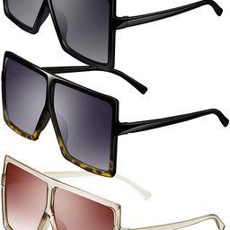3 Pieces Oversized Square Sunglasses Flat Top Fashion Shades Oversize Sunglasses | Amazon (US)