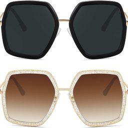 WOWSUN Oversized Big Fashion Sunglasses For Women Irregular Fashion Shades | Amazon (US)