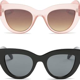 SOJOS Retro Vintage Cateye Sunglasses for Women UV400 Mirrored Lens 2PACK SJ2939 | Amazon (US)