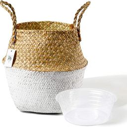 POTEY 710201 Seagrass Plant Basket - Hand Woven Belly Basket with Handles, Middle Storage Laundry... | Amazon (US)