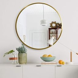 Medium Round Gold Hooks Modern Mirror (31.5 in. H x 31.5 in. W)-JJ00374ZZE - The Home Depot | The Home Depot