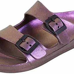 FUNKYMONKEY Women's Comfort Slides Double Buckle Adjustable EVA Flat Sandals   Amazon (US)
