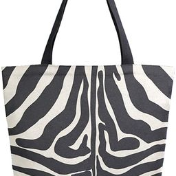 ZzWwR Stylish Zebra Pattern Extra Large Canvas Shoulder Tote Top Storage Handle Bag for Gym Beach... | Amazon (US)