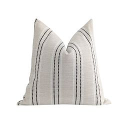 Black and Beige Pillow Cover Black Textured Stripe Pillow   Etsy   Etsy (US)