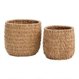Natural Hyacinth Vertical Weave Adelle Basket   World Market