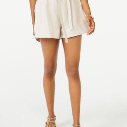 Scoop Women's Linen-Blend Paperbag Shorts | Walmart (US)