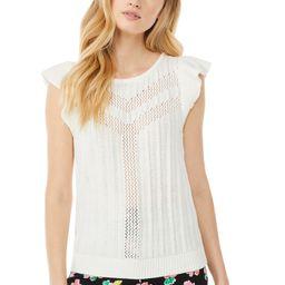 Scoop Women's Pointelle Tank Top with Ruffle Sleeves | Walmart (US)