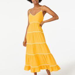 Scoop Women's Ric Rac Trim Midi Dress | Walmart (US)