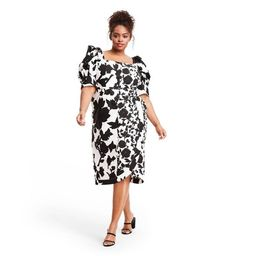 Floral Puff Sleeve Faux Wrap Dress - Christopher John Rogers for Target Black/White   Target
