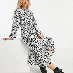 Missguided midi smock dress with ruffle hem in dalmatian   ASOS (Global)