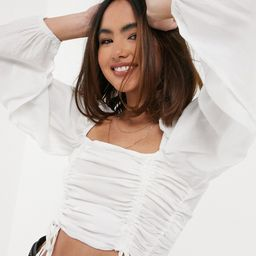 Urban Bliss ruched crop top in cream-White   ASOS (Global)