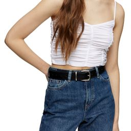 Women's Topshop Ruched Crop Camisole, Size 10 US - White   Nordstrom