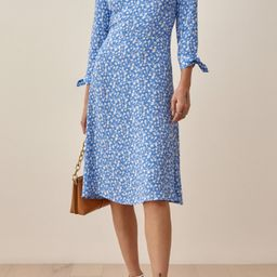 Women's Reformation Port Print Long Sleeve Midi Dress, Size 2 - Blue | Nordstrom