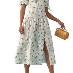 Women's Reformation Melony Floral Gingham Square Neck Linen Midi Dress, Size 6 - Blue | Nordstrom