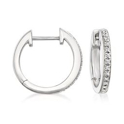 Ross-Simons Sterling Silver Small Hoop Earrings With Diamond Accents | Walmart (US)