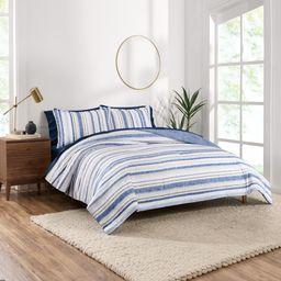 Gap Home Blue Stripe Reversible Organic Cotton Blend Comforter Set, King, Blue, 3-Pieces | Walmart (US)