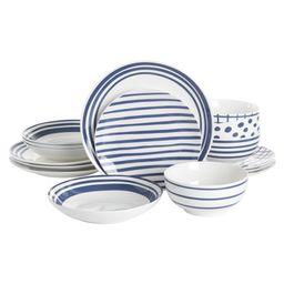Gap Home New Blue 16-Piece Blue & White Decal Fine Ceramic Dinnerware Set | Walmart (US)