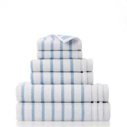 Gap Home Easy Stripe Organic Cotton 6 Piece Bath Towel Set White/Blue | Walmart (US)