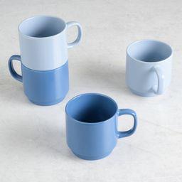 Gap Home Color Cups 14.8-Ounce Stackable Light Blue and Dark Blue Stoneware Mug Set, Set of 4 | Walmart (US)