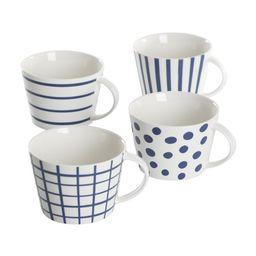 Gap Home New Blue 17-Ounce Blue & White Assorted Fine Ceramic Mug Set, Set of 4 | Walmart (US)