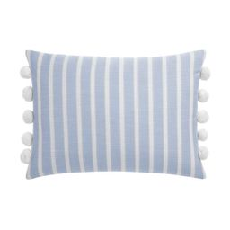 "Gap Home Yarn Dyed Chambray Stripe Decorative Oblong Throw Pillow with Pom Trim Blue 20"" x 14"" | Walmart (US)"