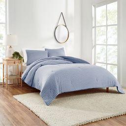 Gap Home T-Shirt Soft Jersey Reversible Organic Cotton Blend Comforter Set, Full/Queen, Blue, 3-P... | Walmart (US)