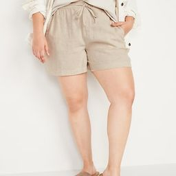 High-Waisted Linen-Blend Shorts for Women -- 4-inch inseam   Old Navy (US)