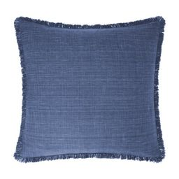 """Gap Home Cross-Hatch Decorative Square Throw Pillow with Frayed Edge Navy 22"""" x 22"""" 